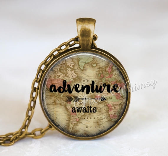 ADVENTURE Necklace, Wander Pendant, World Map, Wander Keychain, Wander Jewelry, Bohemian Necklace, Arrow, Hippie, Gypsy, Gift for Traveler