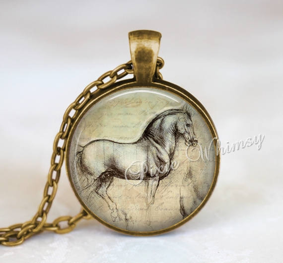 DA VINCI HORSE Necklace Pendant or Keychain Horse Jewelry Gift For Equestrain Horse Lover Horse Riding Horse Art Pony