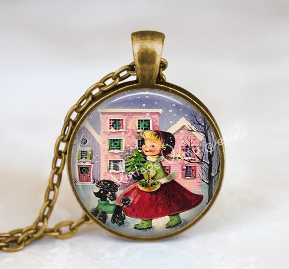 CHRISTMAS Necklace Pendant Jewelry Poodle Vintage Christmas Retro Kitsch Glass Bezel Art Pendant Necklace  Christmas Nostalgia 1950s