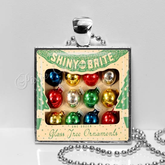 vintage shiny brite christmas ornaments pendant necklace christmas ornaments vintage christmas necklace christmas - Vintage Shiny Brite Christmas Ornaments