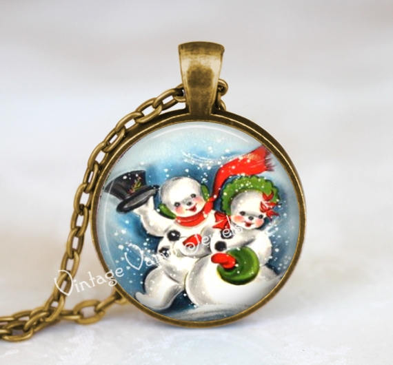 CHRISTMAS SNOWAN Necklace Pendant Jewelry Vintage Christmas Snowman Retro Kitsch Glass Bezel Art Pendant Necklace  Nostalgia 1950s