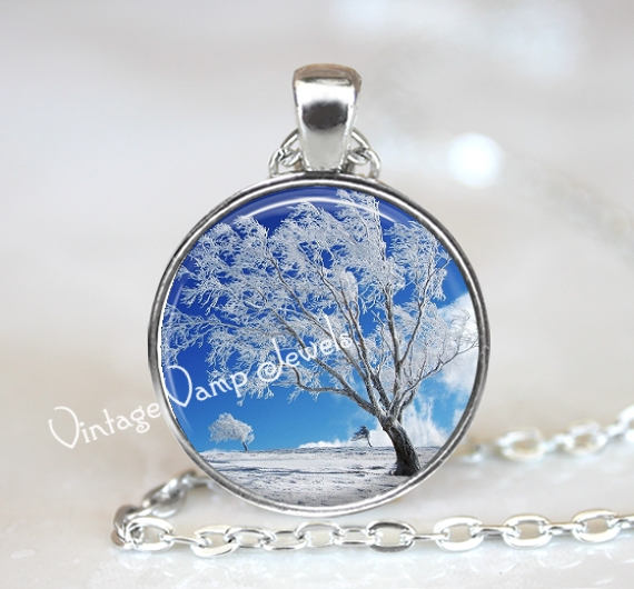 WINTER TREE Necklace, Icy Frozen Tree Necklace, Tree Jewelry, Tree Pendant,  Winter Snow Scene Pendant