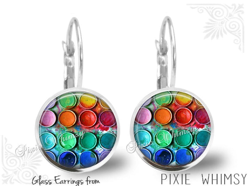 ARTIST Earrings, Paint Box Dangle Drop or Leverback Earrings Glass Dome Photo Art  Jewelry, Paint Palette Watercolor Paints, Gift for Artist