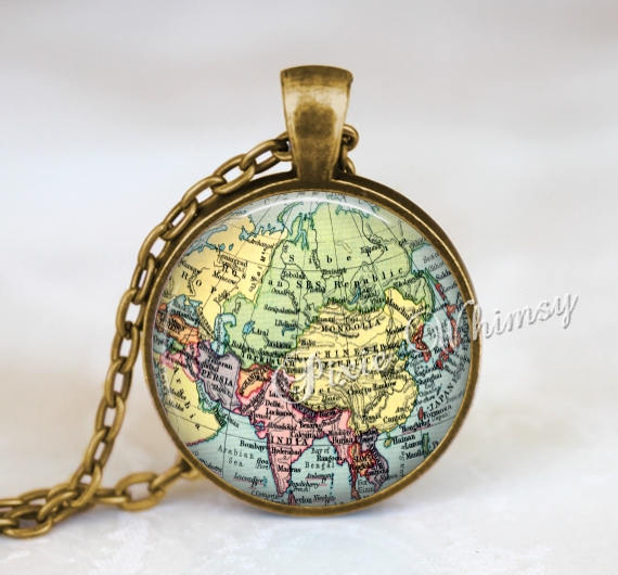 VINTAGE ASIA Map Necklace Pendant Jewelry or Keychain World Map Antique Gift for Traveler Wanderlust Gypsy Bohemian Geography Geographical