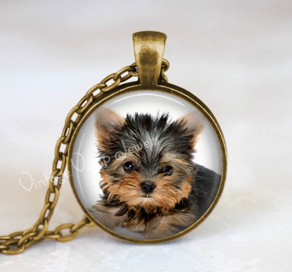 Yorkie Necklace, Yorkshire Terrier, Gift for Dog Lover, Yorkie Pendant Necklace, Glass Art Pendant Necklace