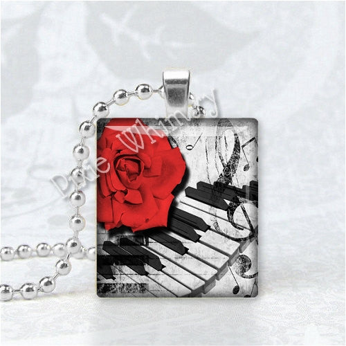 PIANO KEYS and Red Rose Flower Scrabble Tile Art Pendant Charm