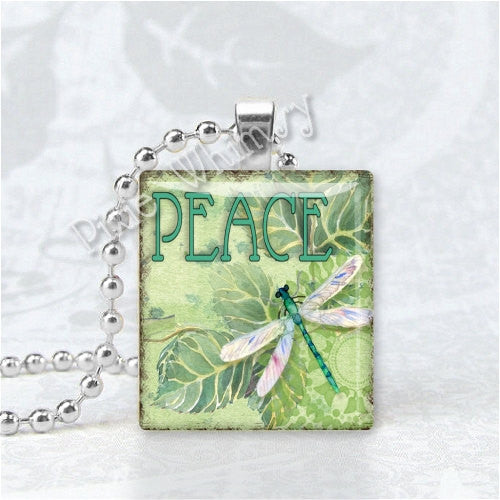PEACE and DRAGONFLY Scrabble Tile Art Pendant Charm