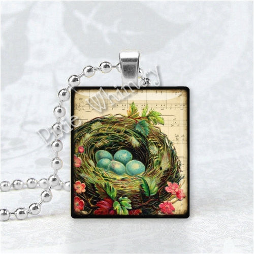BIRD NEST And Robin's Eggs Scrabble Tile Art Pendant Charm