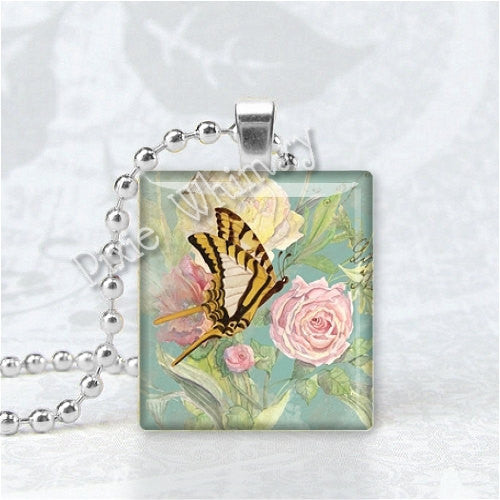 BUTTERFLY and PINK ROSE Scrabble Tile Art Pendant Charm