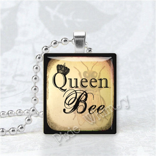 QUEEN BEE Pendant, Honey Bee Pendant, Beekeeping, Apiary, Beehive, Bee Scrabble Pendant, Scrabble Tile Altered Art Pendant, Bees, Queen