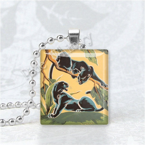 BLACK PANTHERS Art Deco Scrabble Tile Art Pendant Charm