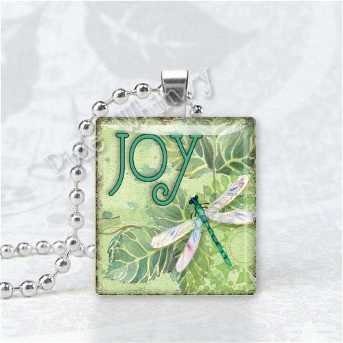 JOY DRAGONFLY Scrabble Pendant Necklace Tile Art Charm