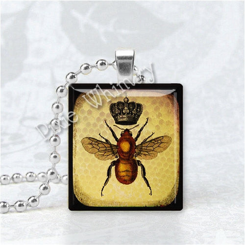 BEE Pendant, Queen Bee Pendant, Gift for Beekeeper, Insect, Apiary, Beekeeping Jewelry, Scrabble Tile Art Pendant Charm, Bee Art Jewelry