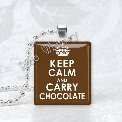 KEEP CALM And Carry CHOCOLATE Scrabble Tile Art Pendant Charm