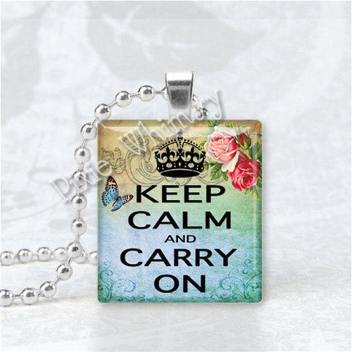 KEEP CALM And Carry On - Roses Scrabble Tile Art Pendant Charm