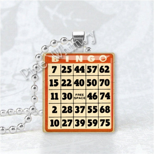 BINGO GAME CARD  Scrabble Tile Art Pendant Charm
