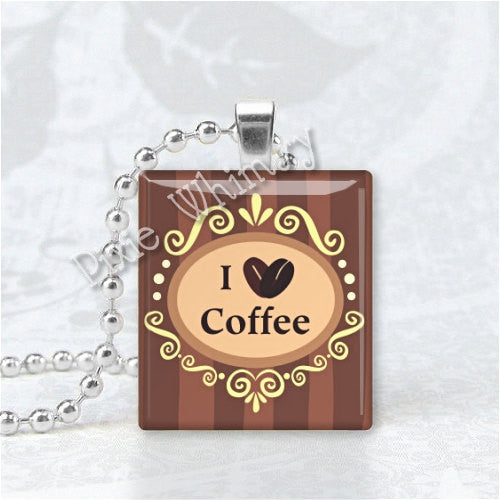 I LOVE COFFEE Scrabble Tile Art Pendant Charm