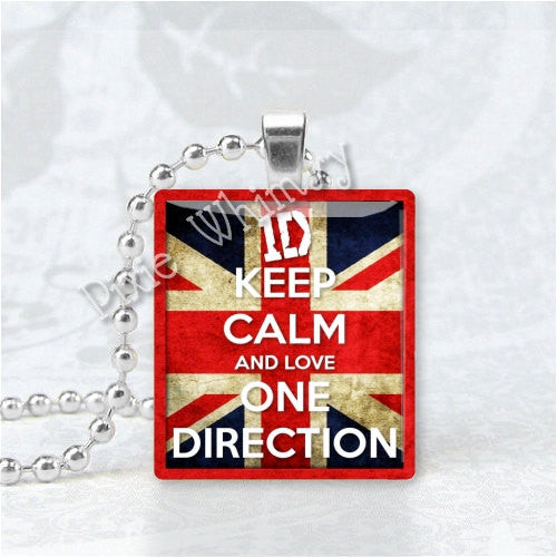 KEEP CALM and Love One Direction 1D Scrabble Tile Art Pendant Charm