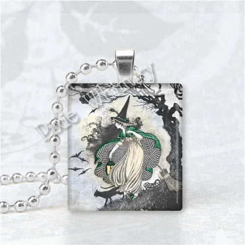 VINTAGE WITCH and Black Cat Scrabble Tile Art Pendant Charm