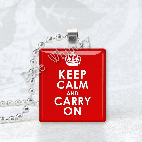 KEEP CALM And Carry On Scrabble Tile Art Pendant Charm