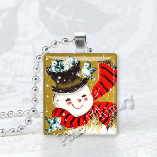 CHRISTMAS SNOWMAN & BLUEBIRDS Vintage Christmas Scrabble Tile Art Pendant Charm