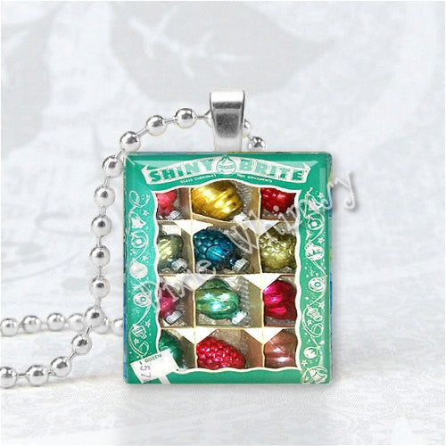 Christmas Jewelry.Shiny Brite Christmas Ornaments Vintage Christmas Ornaments Vintage Christmas Christmas Jewelry Scrabble Tile Art Pendant Charm