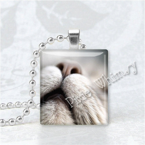 ADORABLE CAT FACE Scrabble Tile Altered Art Pendant Charm