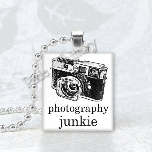 PHOTOGRAPHY JUNKIE Camera Photographer Photo Scrabble Tile Art Pendant Jewelry Charm