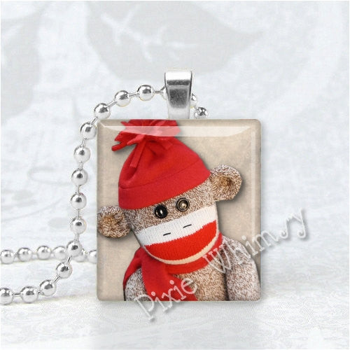 SOCK MONKEY JEWELRY Scrabble Tile Altered Art Pendant Charm