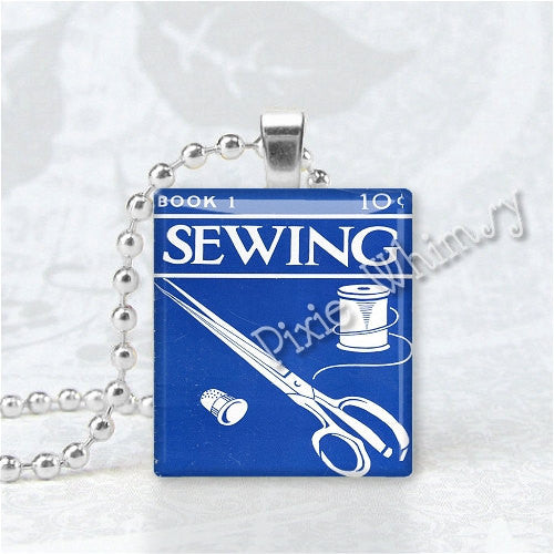 VINTAGE SEWING BOOK Scrabble Tile Jewelry Altered Art Pendant Charm