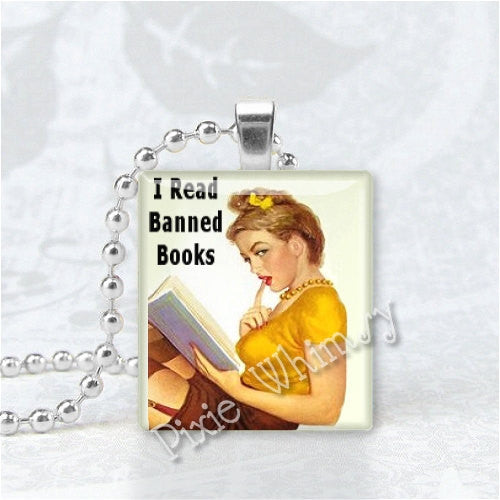 I READ BANNED Books Scrabble Tile Jewelry Altered Art Pendant Charm