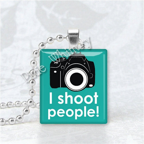I SHOOT PEOPLE Photography Jewelry Camera Photo Scrabble Tile Art Pendant Charm