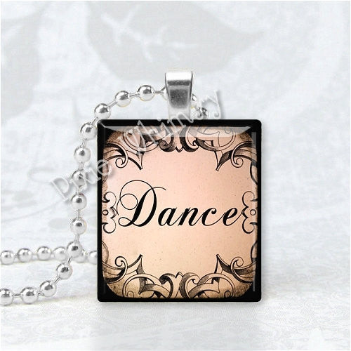 DANCE Decorative Word Jewelry Scrabble Tile Altered Art Pendant Charm