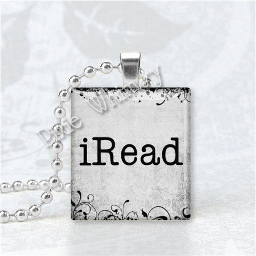 iRead BOOK JEWELRY Scrabble Tile Altered Art Pendant Charm