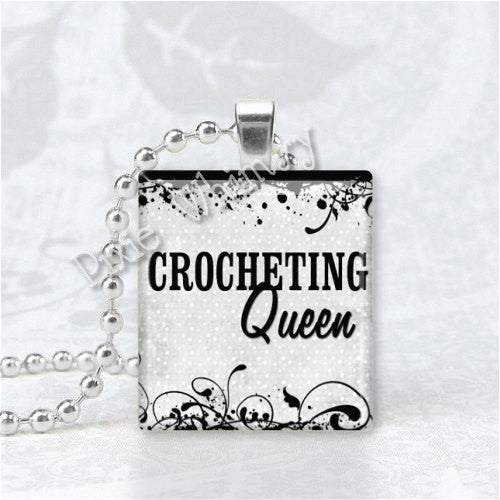 CROCHETING QUEEN Crochet Jewelry Scrabble Tile Altered Art Pendant Charm
