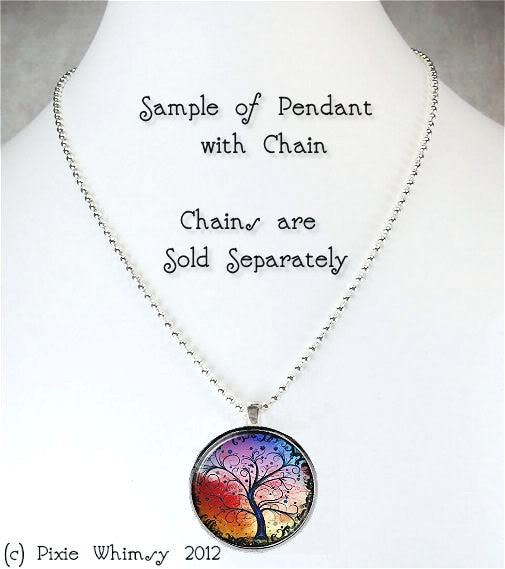 CURIOUSER & CURIOUSER Glass Bezel Pendant with Free 24 Inch Necklace Chain, Alice in Wonderland Jewelry