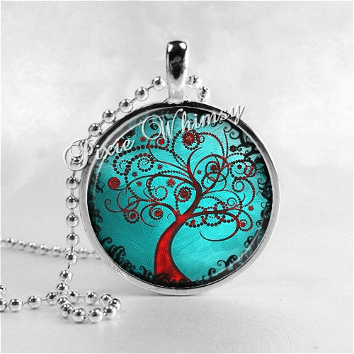 Watercolor Tree Necklace Art Pendant Jewelry with Ball Chain, Teal Blue, Tree of Life