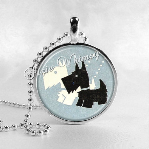 SCOTTISH TERRIER Art Deco Round Glass Bezel Pendant with Free 24 Inch Necklace Chain