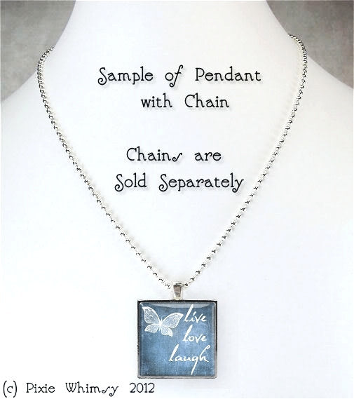 BOOK CHICK Jewelry Square Glass Bezel Pendant Necklace with Free 24 Inch Necklace Chain