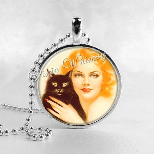 ART DECO Jewelry, Art Deco Cat, Black Cat Jewelry, Black Cat Necklace, Black Cat Charm, Glass Photo Art Necklace Charm