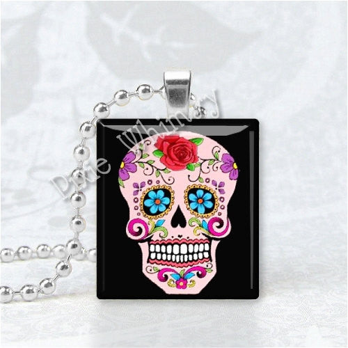 SUGAR SKULL PINK Day Of The Dead Jewelry Scrabble Tile Art Pendant Charm