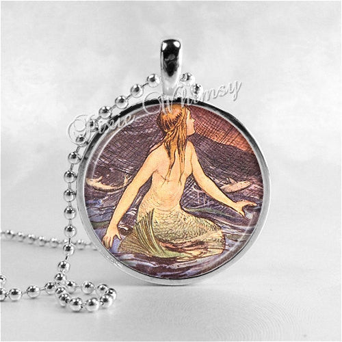 MERMAID Pendant Necklace Jewelry Round Glass Bezel Pendant with 24 Inch Necklace Chain
