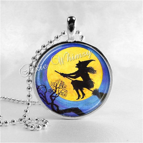 WITCH and FULL MOON Round Glass Bezel Pendant with Free 24 Inch Necklace Chain