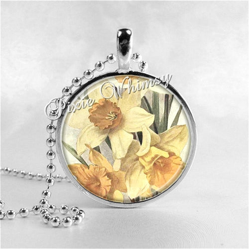 DAFFODIL FLOWERS Round Glass Bezel Pendant with Free 24 Inch Necklace Chain
