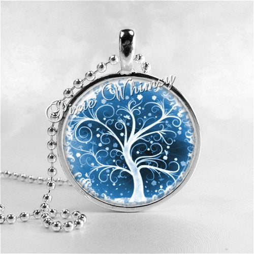 TREE OF LIFE Neckace Pendant Charm, Winter Snow Scene, Winter Tree Necklace, Tree Jewelry