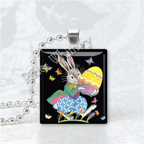 ART DECO EASTER Bunny Rabbits and Egg Scrabble Tile Art Pendant Charm Jewelry