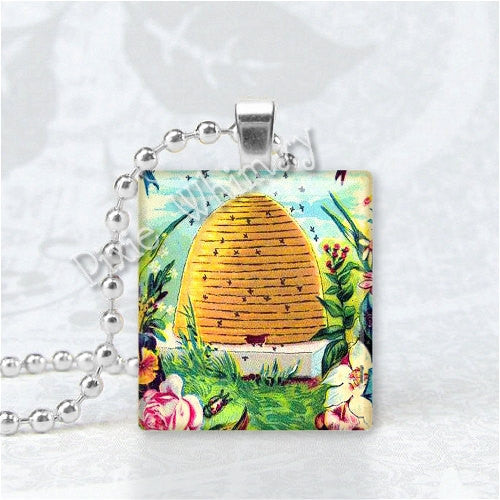 BEEHIVE Honey Bee Hive Scrabble Tile Art Pendant Charm Jewelry