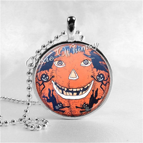 VINTAGE HALLOWEEN Jack O Lantern Round Glass Bezel Pendant Necklace with Free 24 Inch Necklace Chain