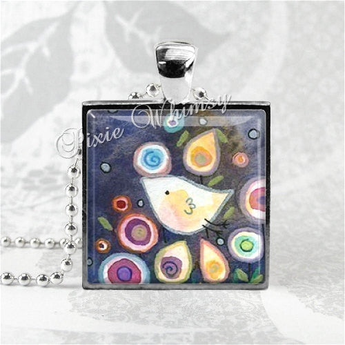 WHIMSICAL BIRD Square Glass Bezel Pendant Necklace with Free 24 Inch Necklace Chain