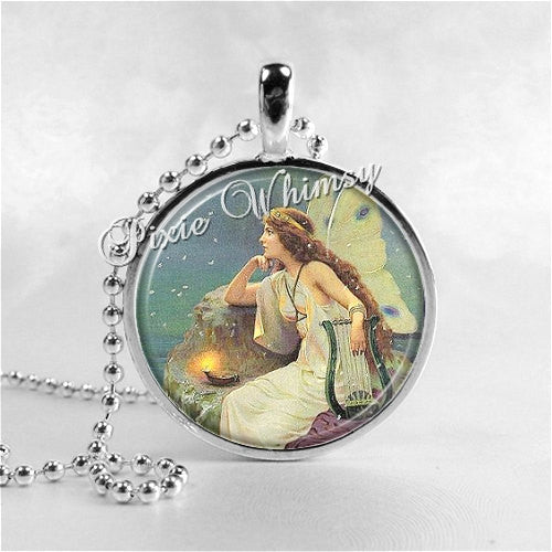 FAIRY with Lantern Art Nouveau Jewelry Round Glass Bezel Pendant with Free 24 Inch Necklace Chain